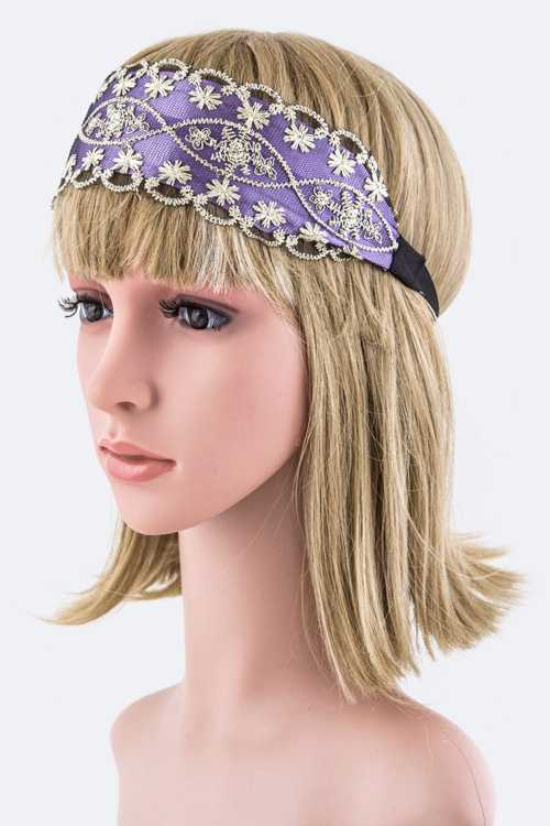 Lurex Lace Layer Stretch Headband