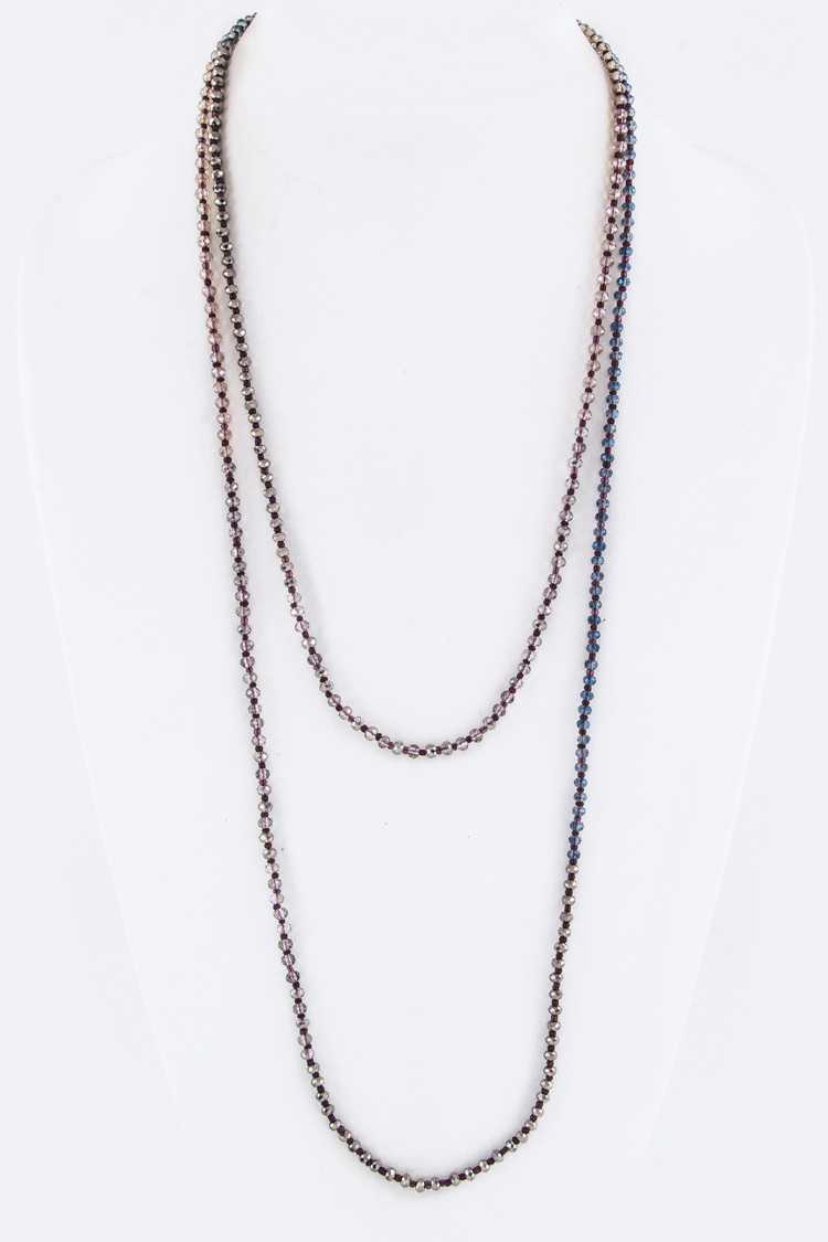 "60"" Long Mix Tone Crystal Knotted Necklace"