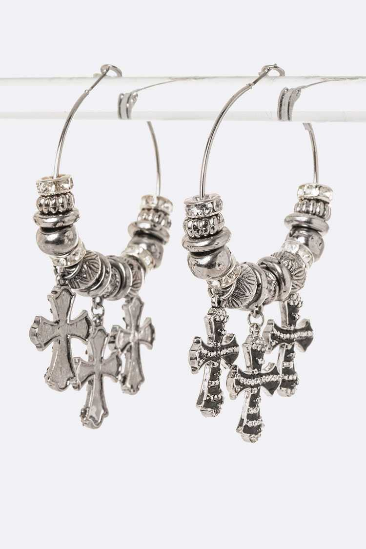 Mix Cross Charm Crystal Slider Hoop Earrings