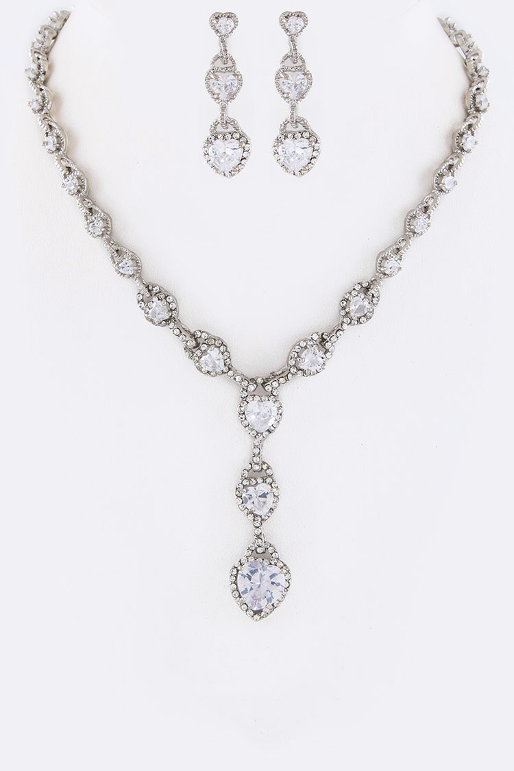 CZ Hearts Drop Necklace Set