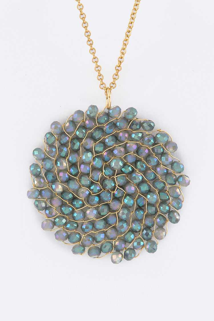 Wired Crystal Iconic Disk Pendant Necklace