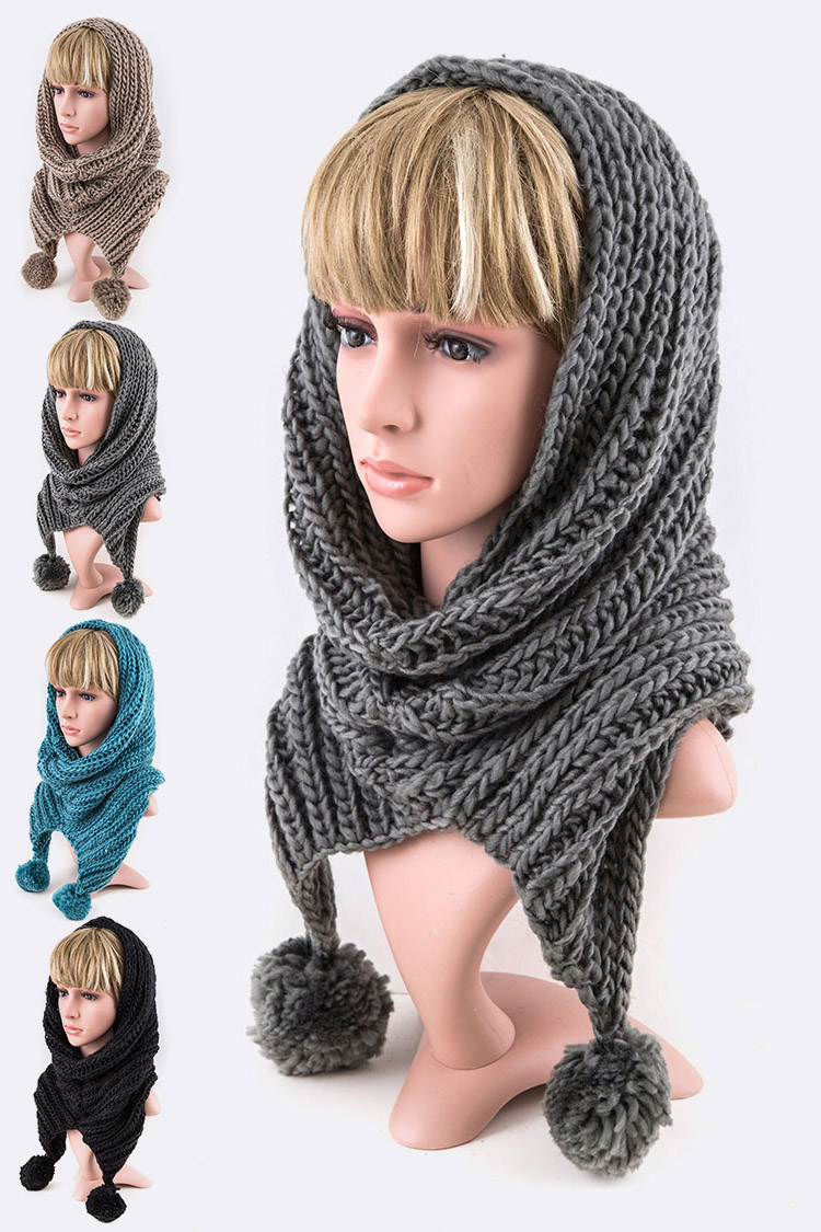 Loose Knit PomPom Convertible Hoody Neck Warmer