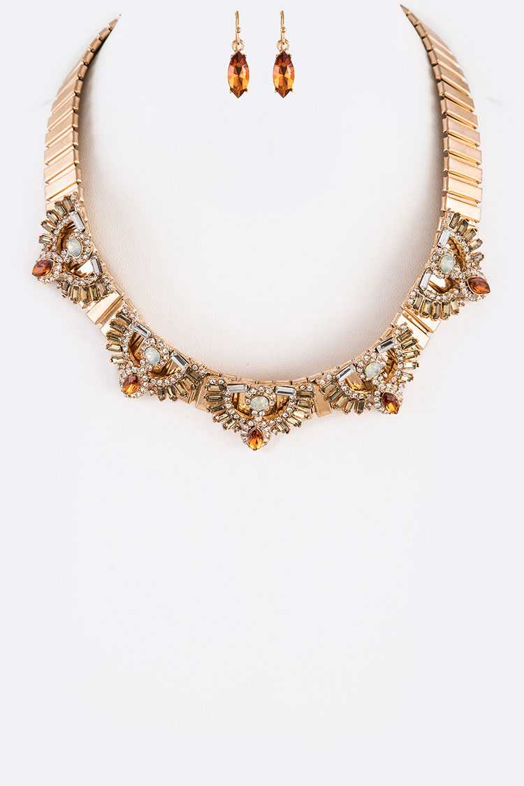 Mix Crystals Chain Collar Necklace Set