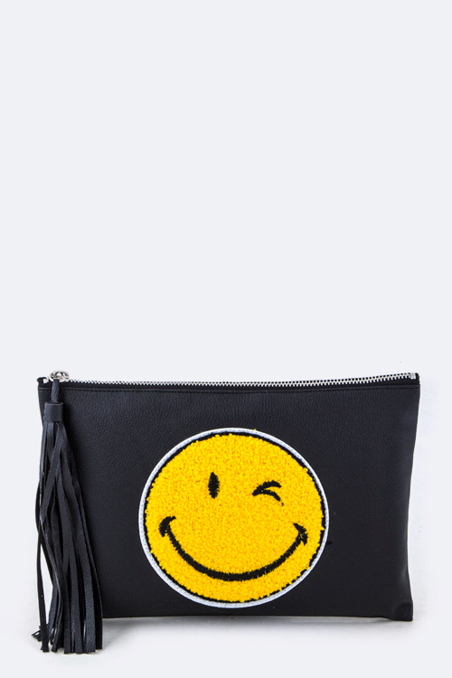 Happy Face Tasseled Pouch