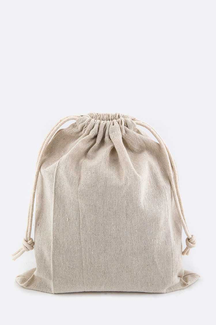 Drawstring Cotton Linen Pouch - L