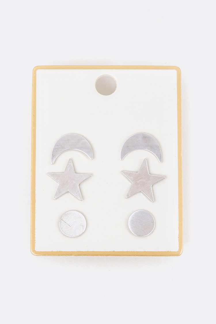 Moon & Star Stud Earring Set