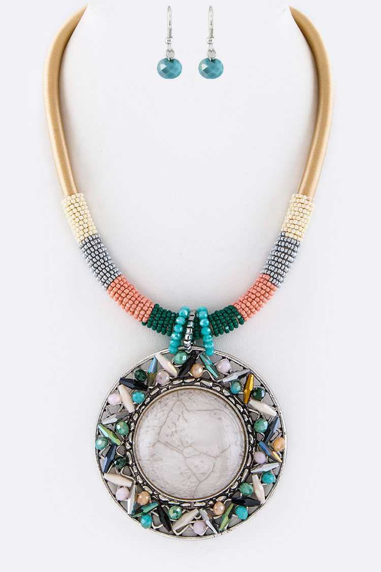 Jumbo Pave Stone Medallion Necklace Set