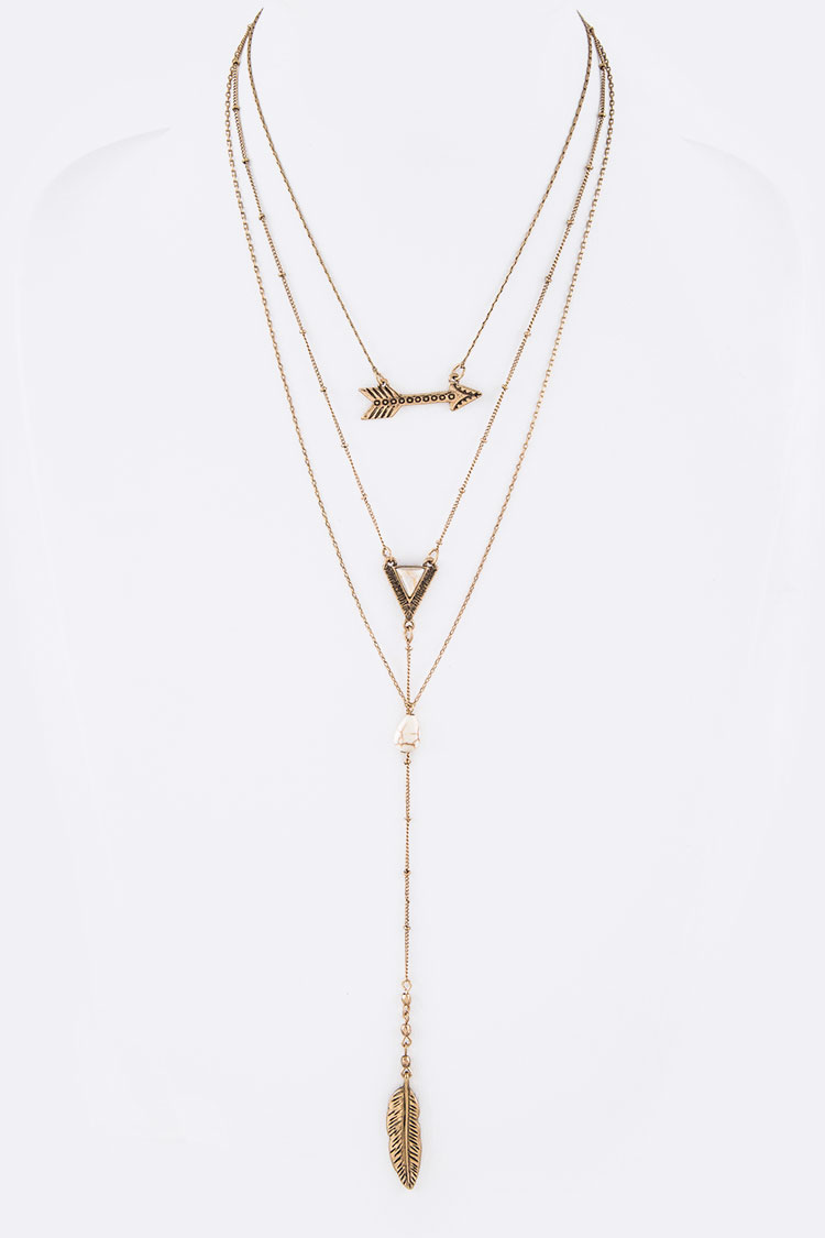 Arrow & Feather Stone Layer Necklace Set