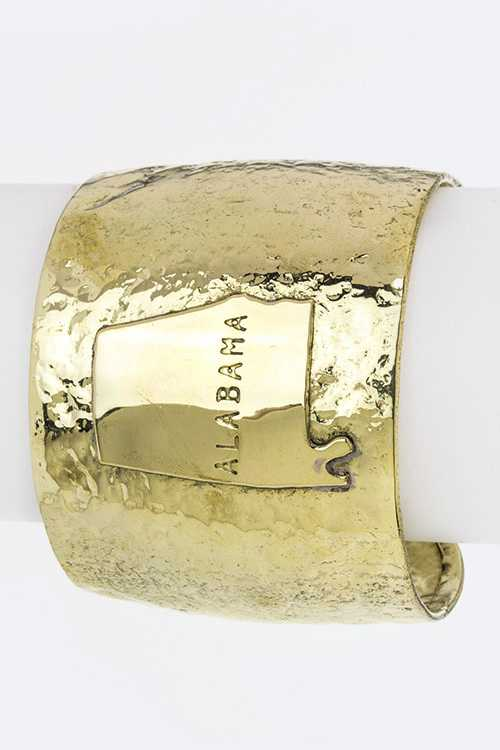 Alabama Map Adjustable Metal Cuff