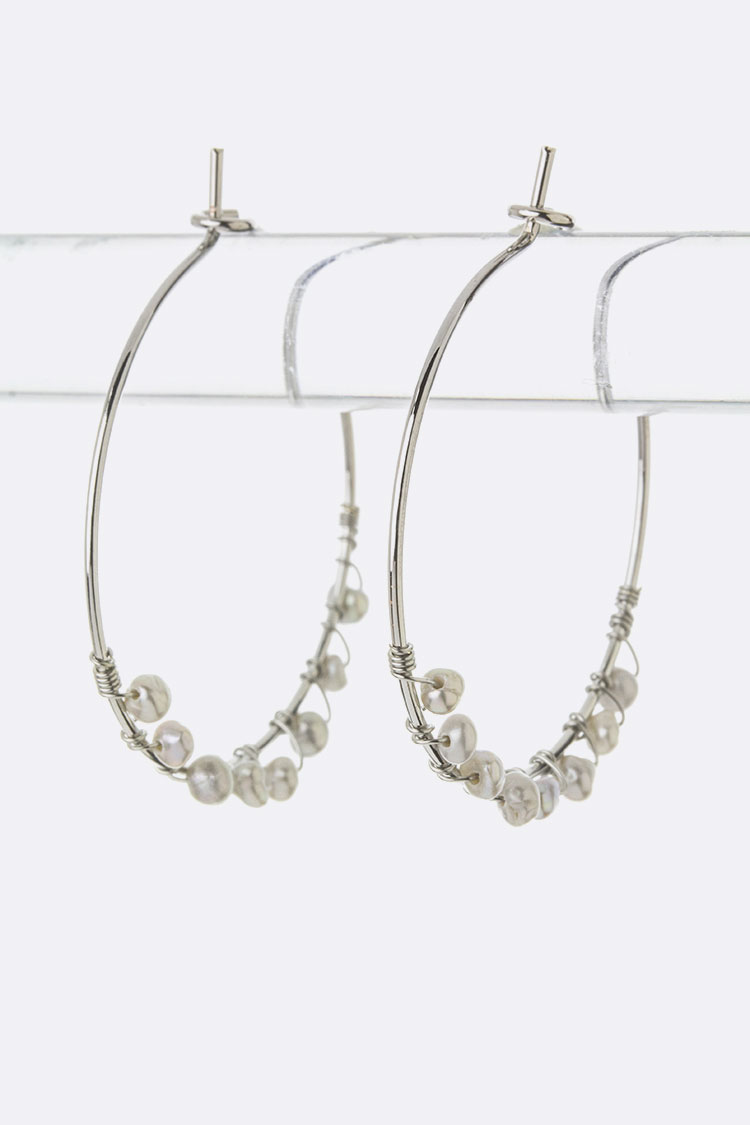 Wired Pearl Hoop Earrings