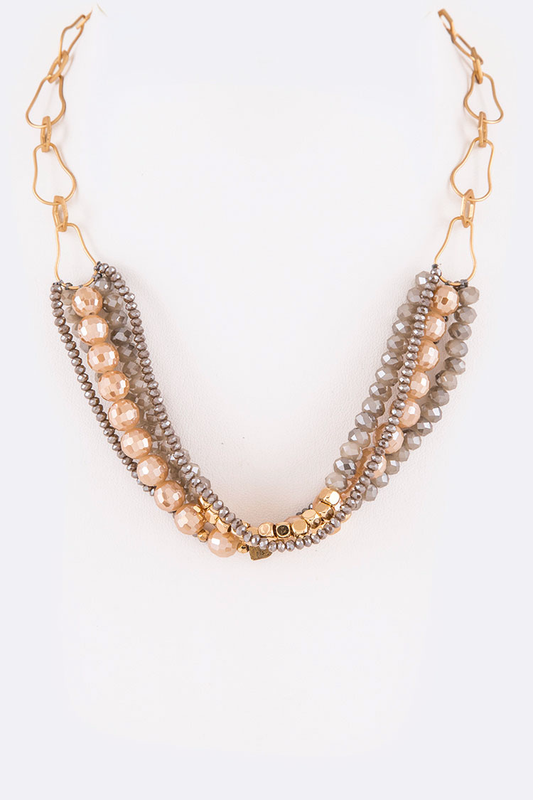 Mix Beads Iconic Chain Statement Necklace