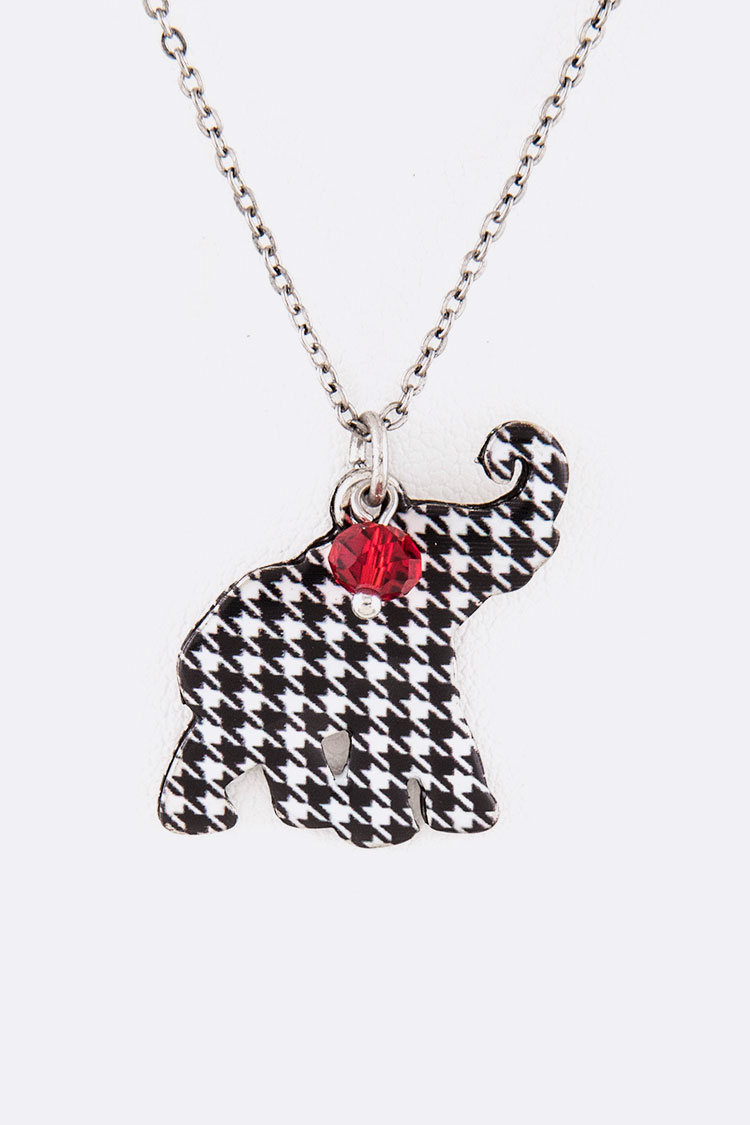 Elephant Houndstooth Print Pendant Necklace Set