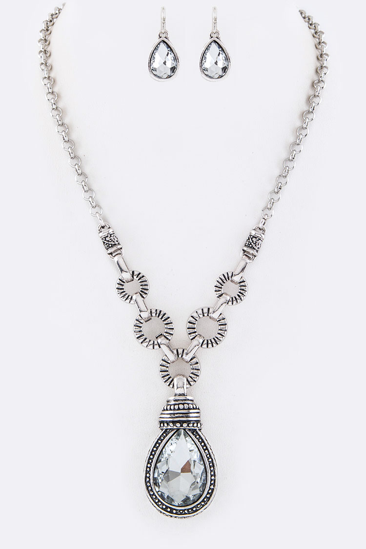 Crystal Teardrop Pendant Necklace Set