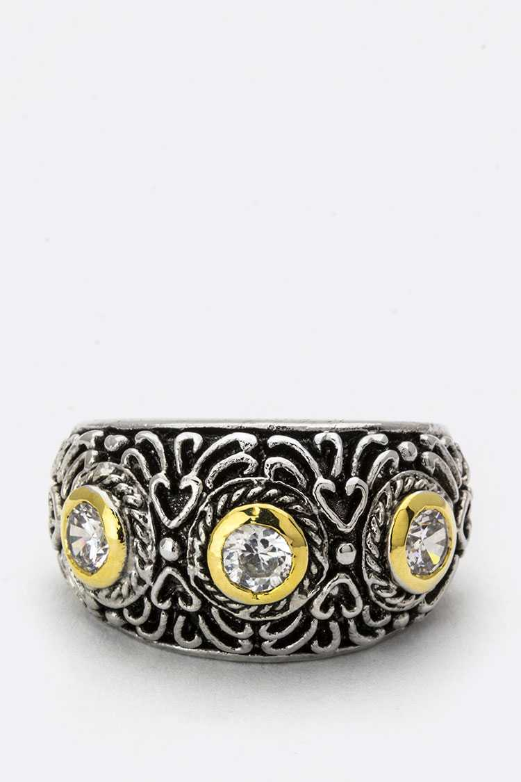 CZ & Swirl Textured Ring