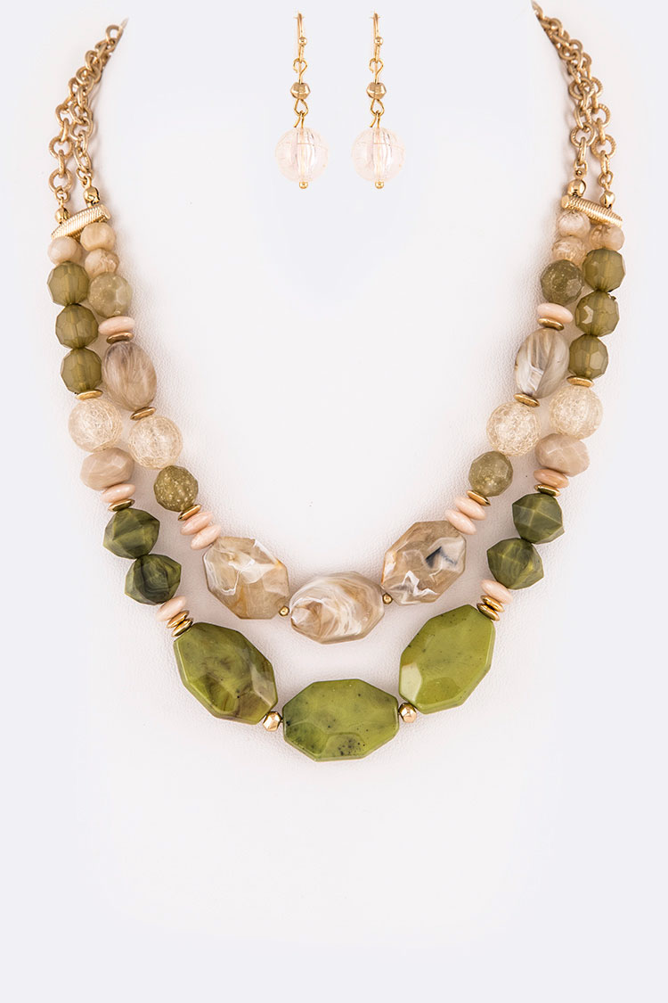 Resin Pebble Layer Necklace Set