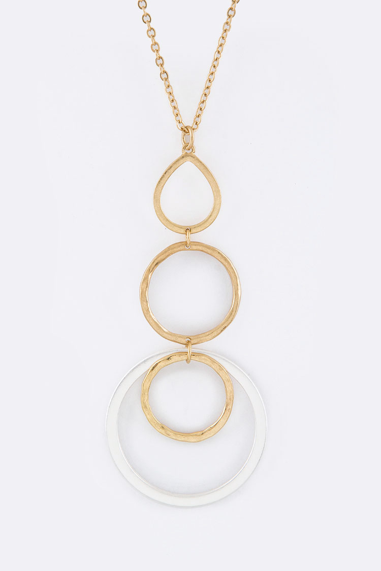 2 Tone Hoops Pendant Necklace