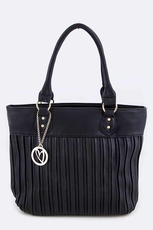 Heart Charm Pleated Fashion Tote