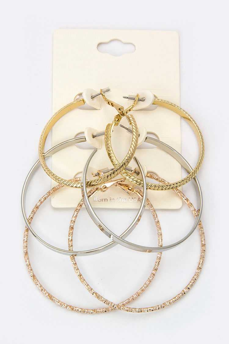Mix Textured Metal Hoop Earrings