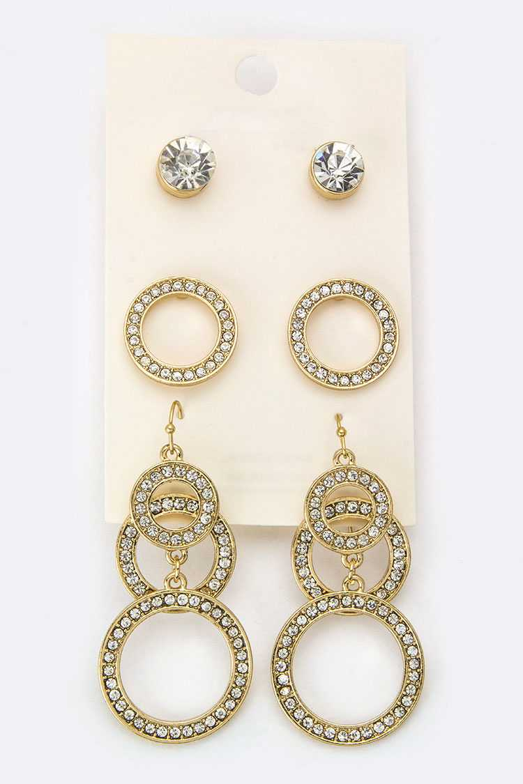 Mix Crystal Studs & Earrings Set