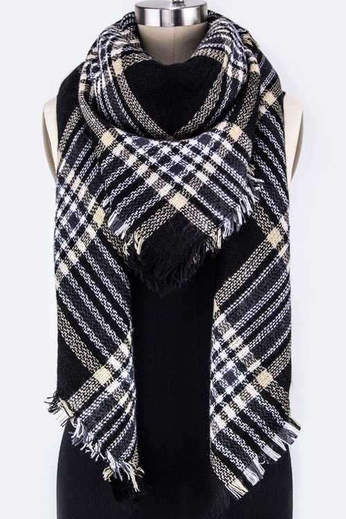 Mad For Plaid Large Square Shawl Scarf