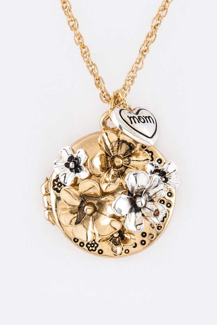 MOM Flower Locket Pendant Necklace Set