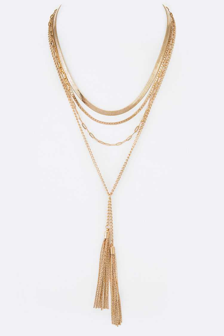 Mix Layer Chain Double Tassel Necklace