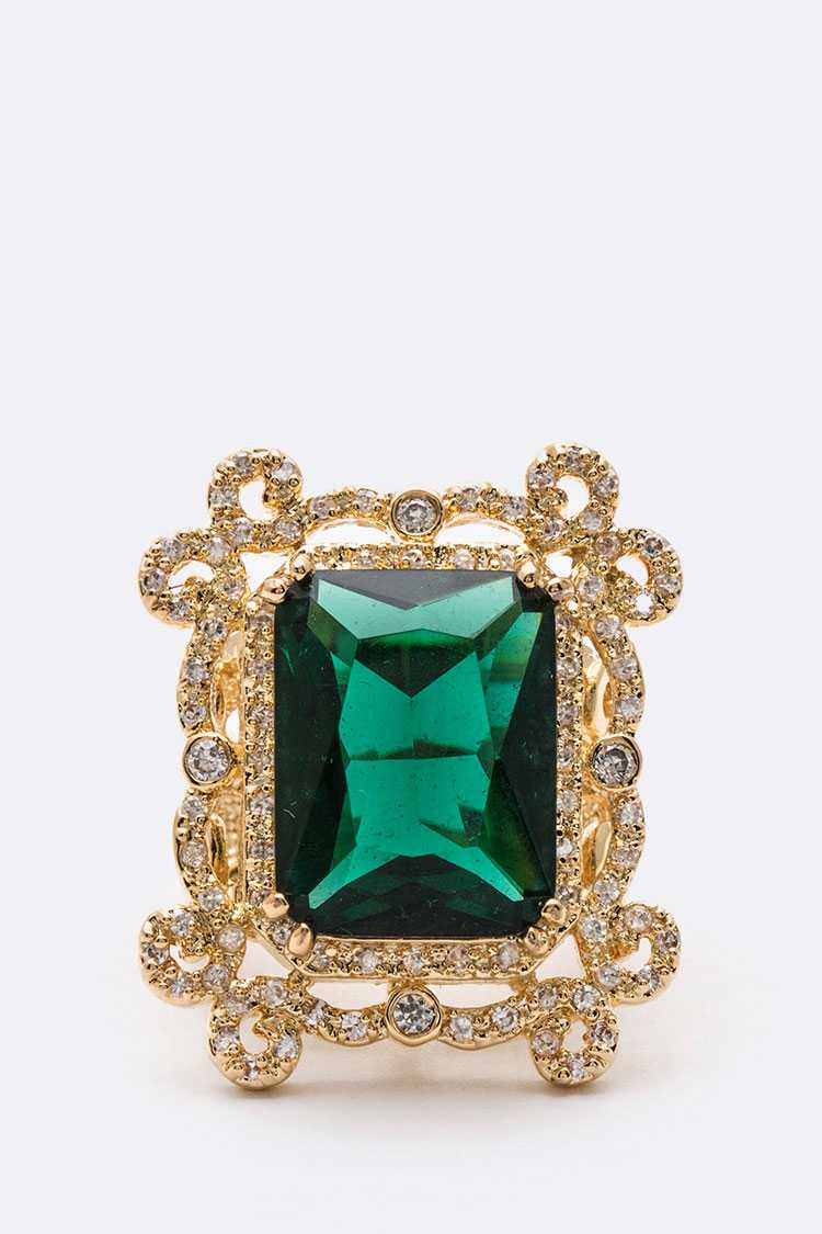 Emerald Iconic CZ Ring