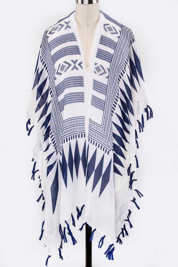 Tribal Print Tassel Light Weight Kimono Cardigan