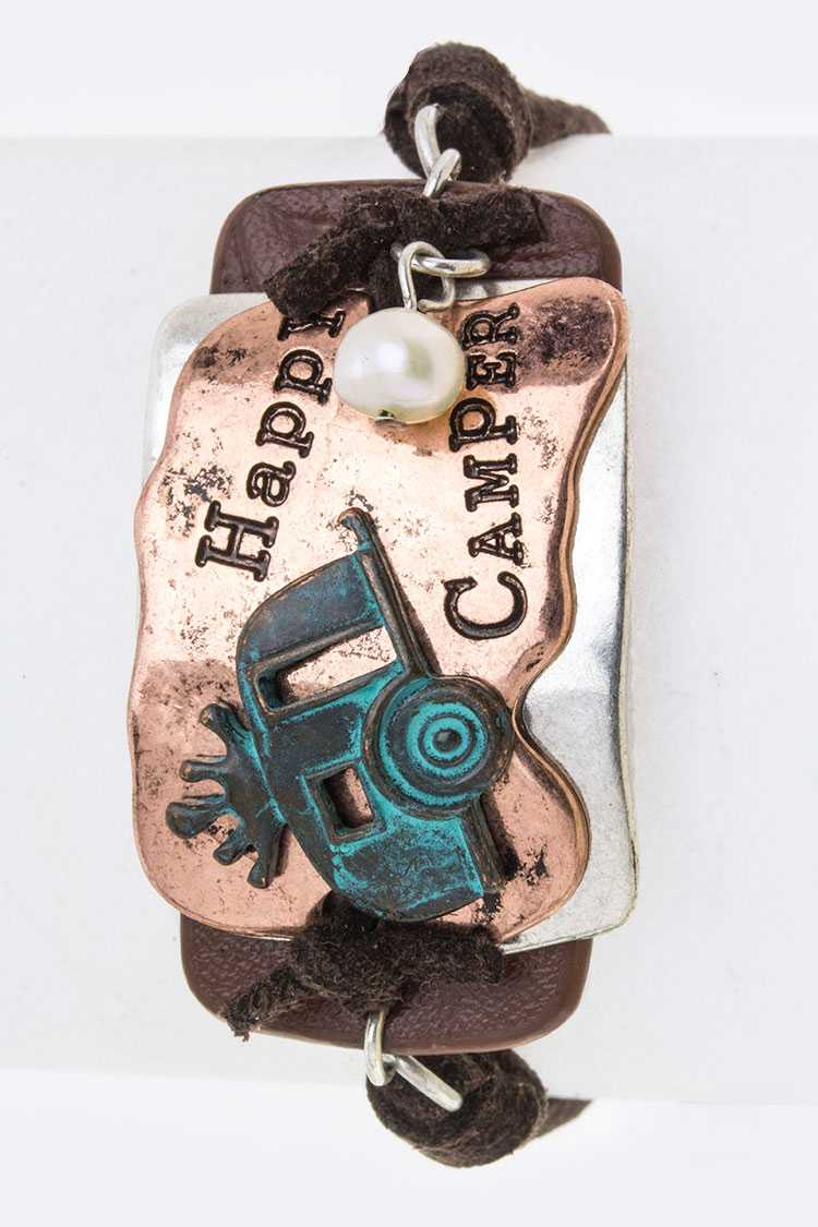 Happy Camper Tag Drawstring Bracelet