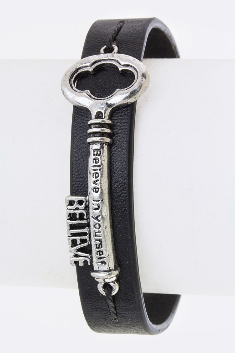 Believe Key Charm Leather Cuff