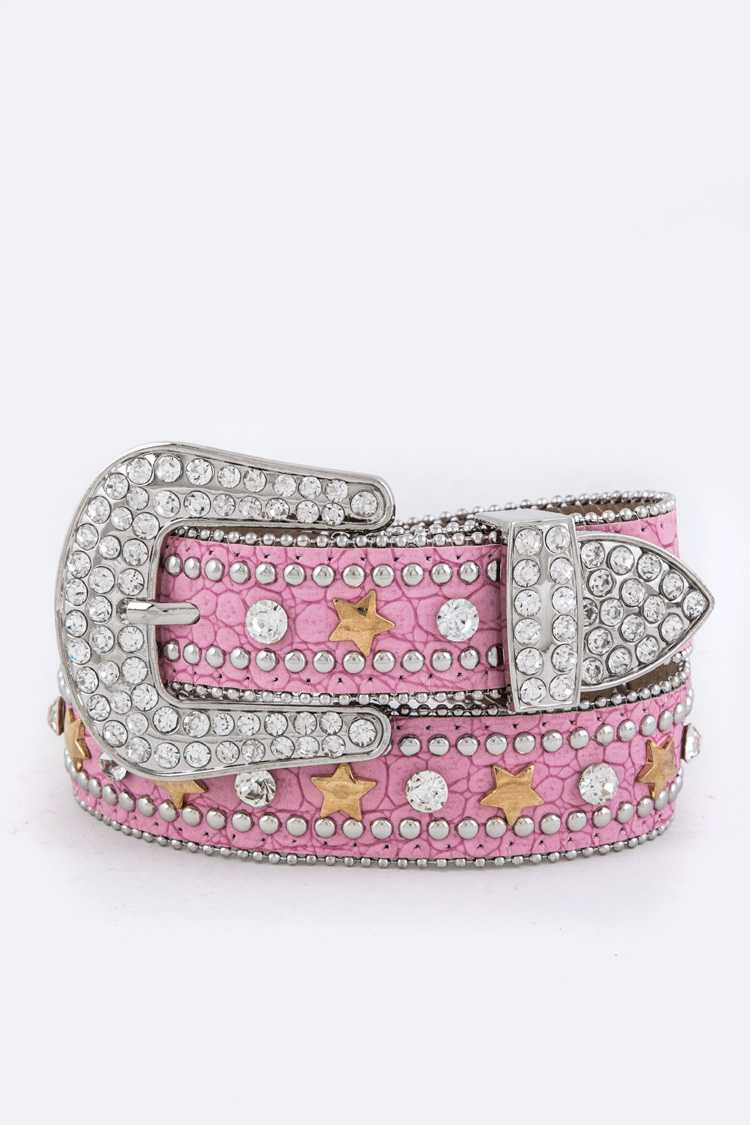 Crystal & Star Studs Kids Belt