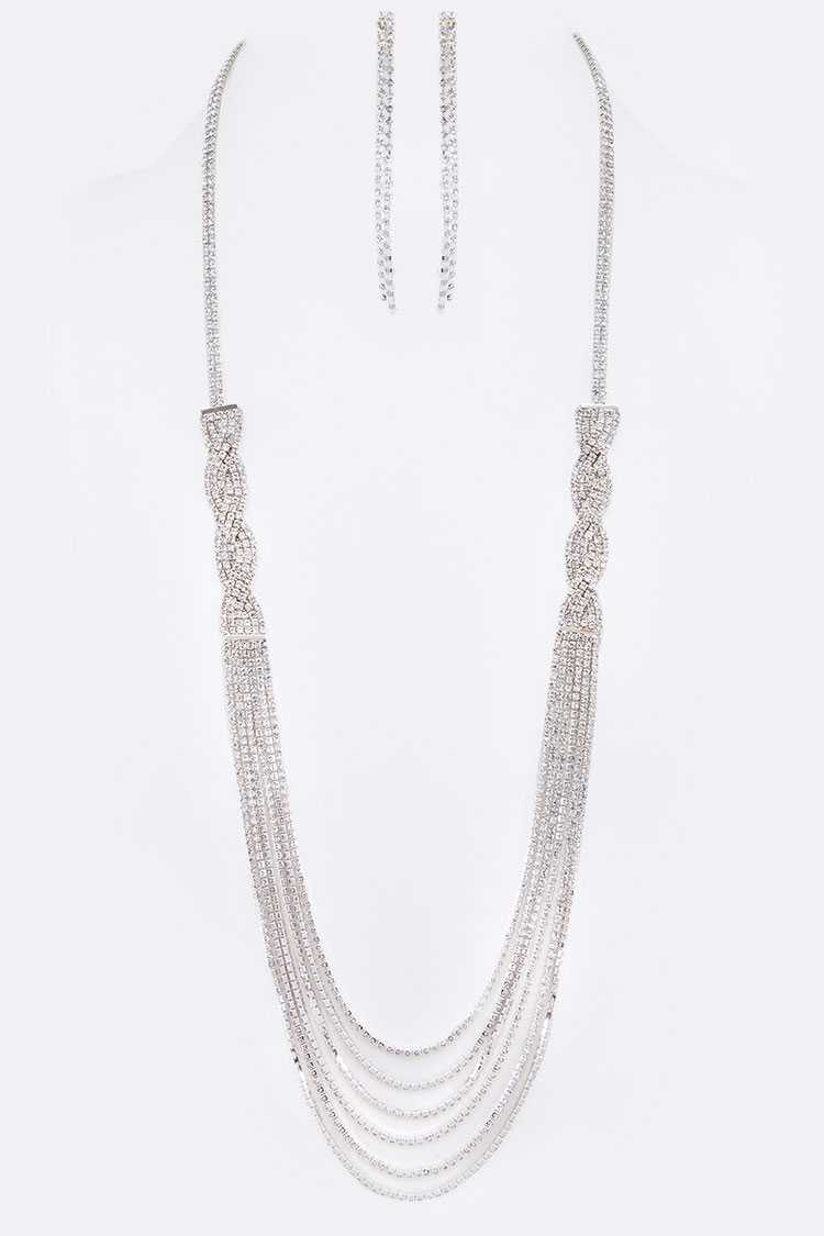Rhinestone Layer Chain Long Necklace Set