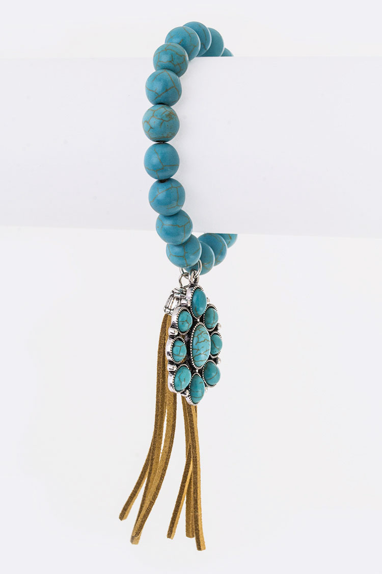 Turquoise & Tassel Charms Stretch Bead Bracelet