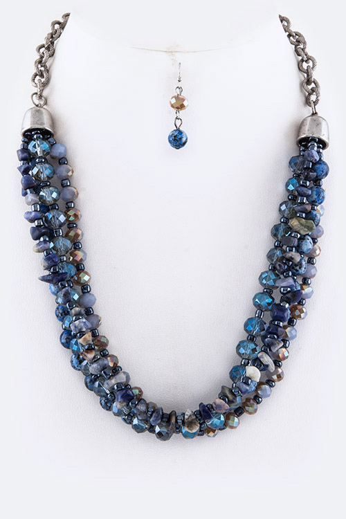 Precious Stone Beads Layer Necklace Set