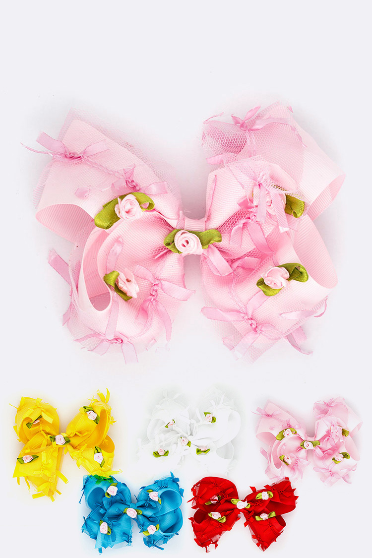 Little Rose Bow Large Bow Hair Clip Set