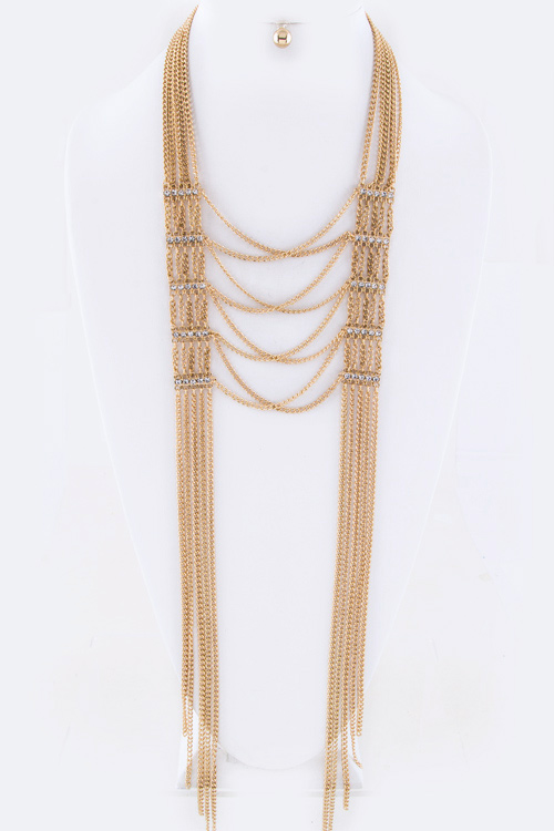 Crystal Hinge & Layer Chains Necklace Set