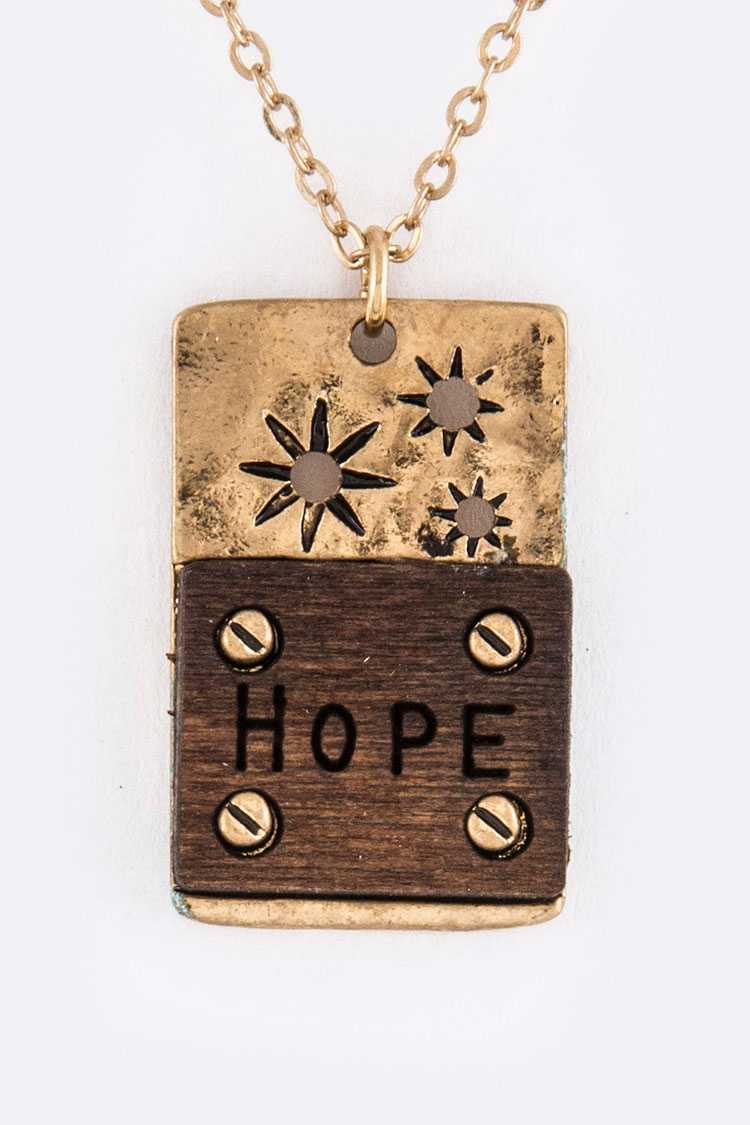 Hope Engraved Tag Pendant Necklace Set
