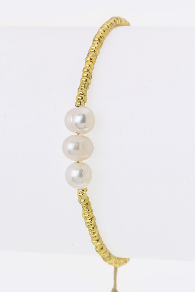 Pearls & Metal Beads Drawstring Bracelet