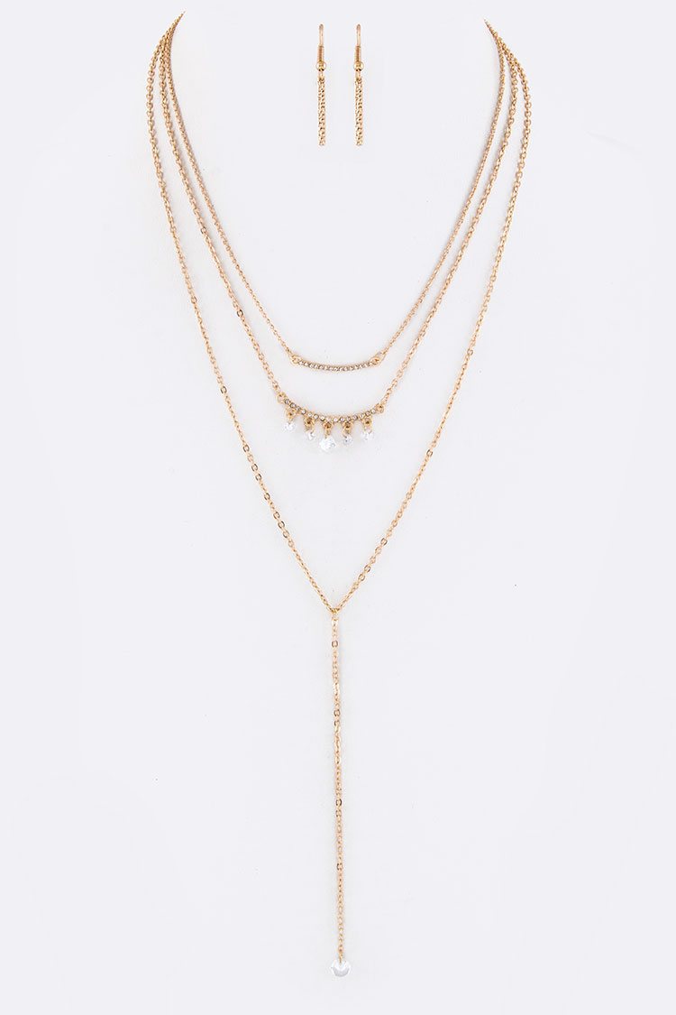 Crystal Bars & Charm Drop Layer Necklace Set