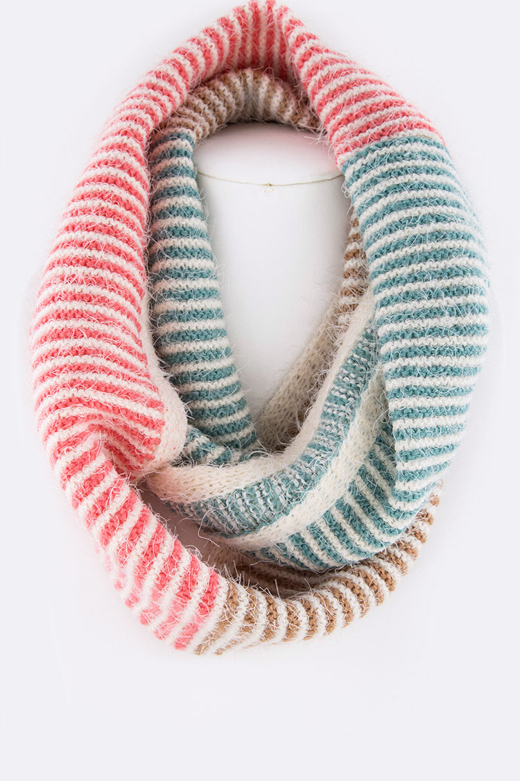 Mix Color Heavy Knit Fashion Infinity Scarf