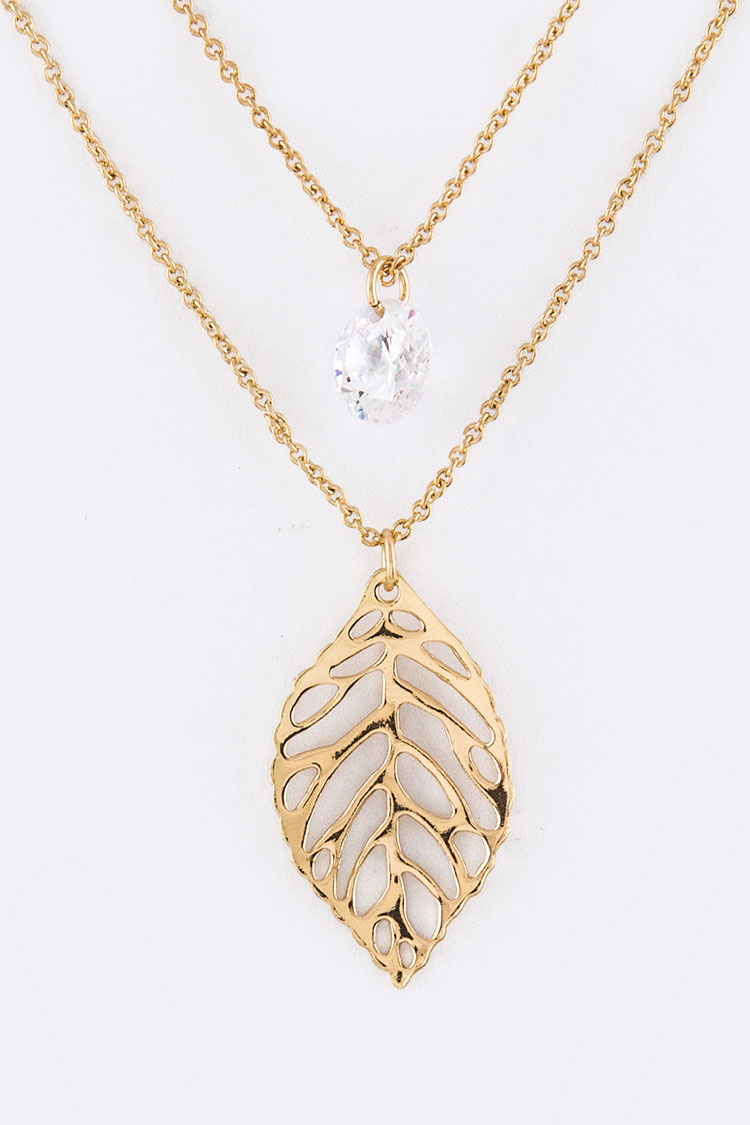CZ & Metal Leaf Charms Layer Necklace Set