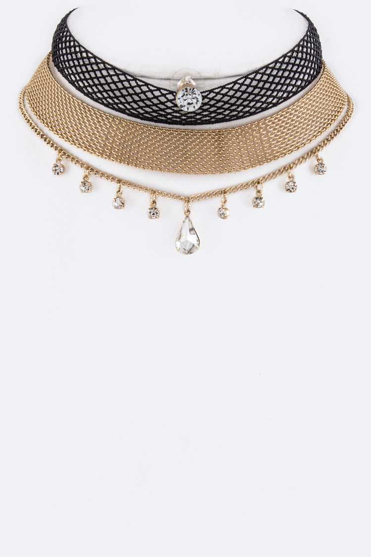 Mesh & Crystal Charm Chokers Set