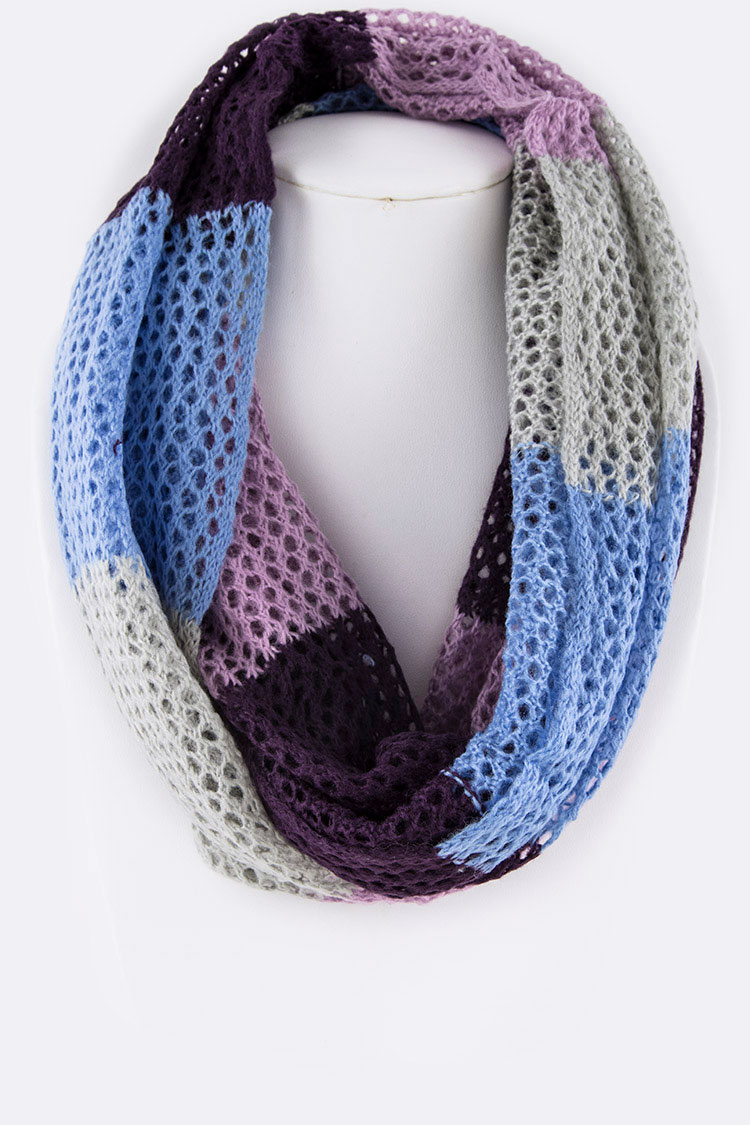 Loose Knit Block Color Infinity Scarf