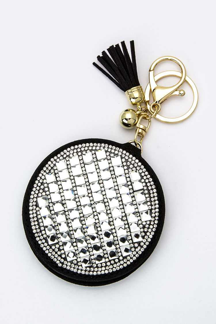Crystal Compact Mirror Key Charm