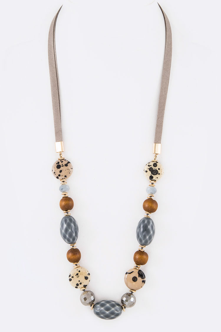 Mix Media Stone Beads Leather Necklace