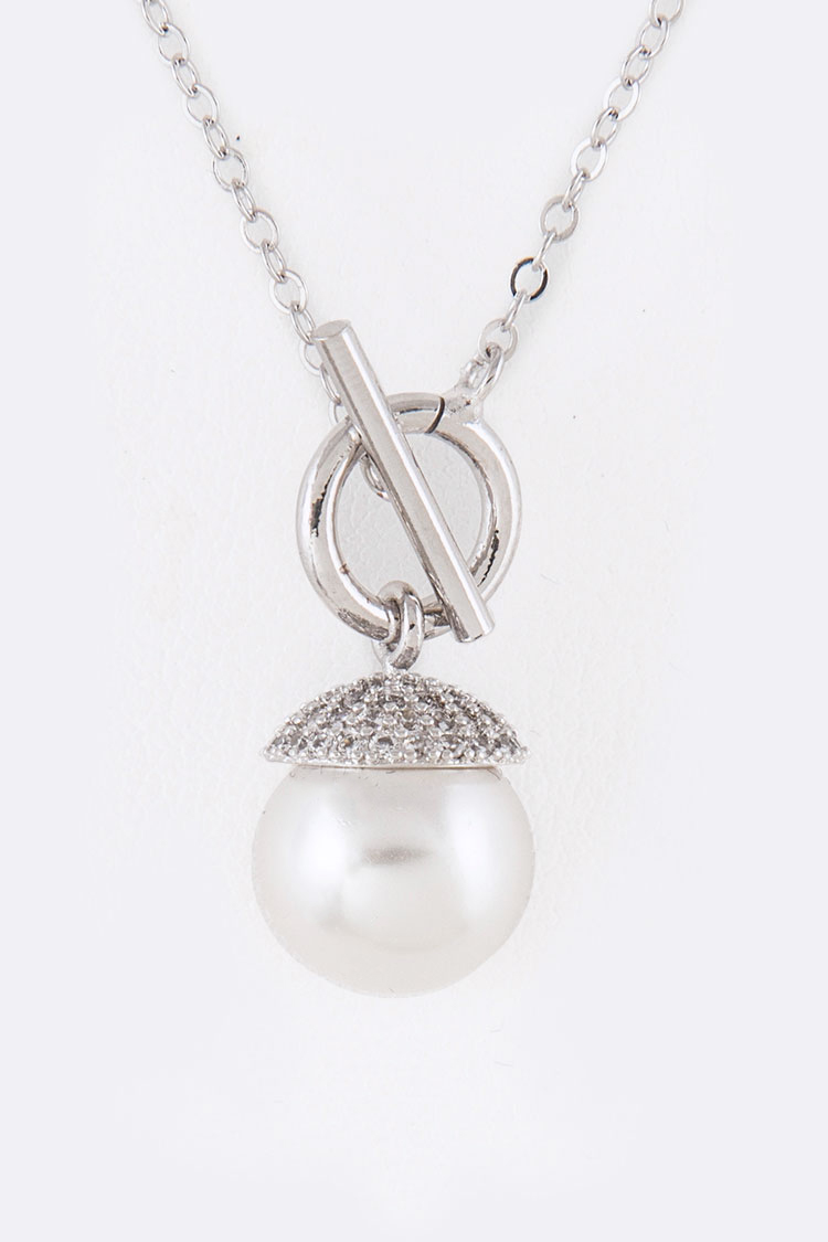 CZ Pearl Drop Toggle Necklace