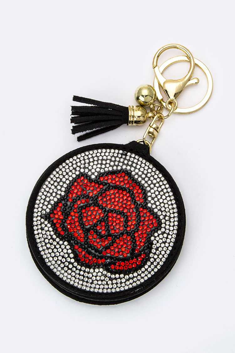 Crystal Rose Compact Mirror Key Charm