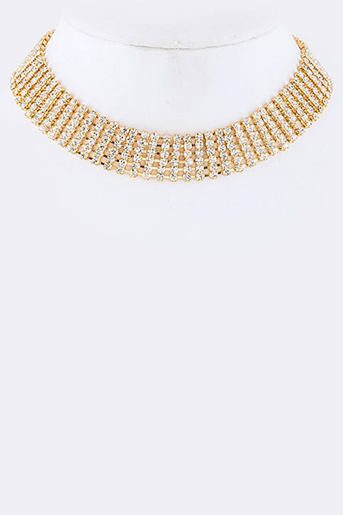 6 Row Statement Rhinestone Choker