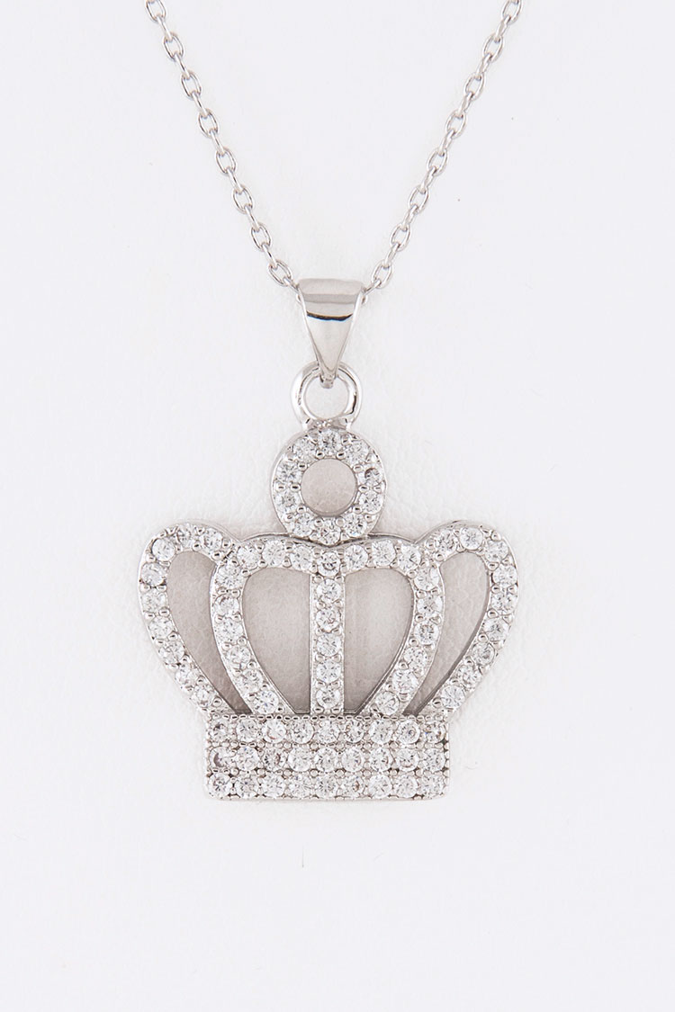 CZ Crown Pendant Necklace