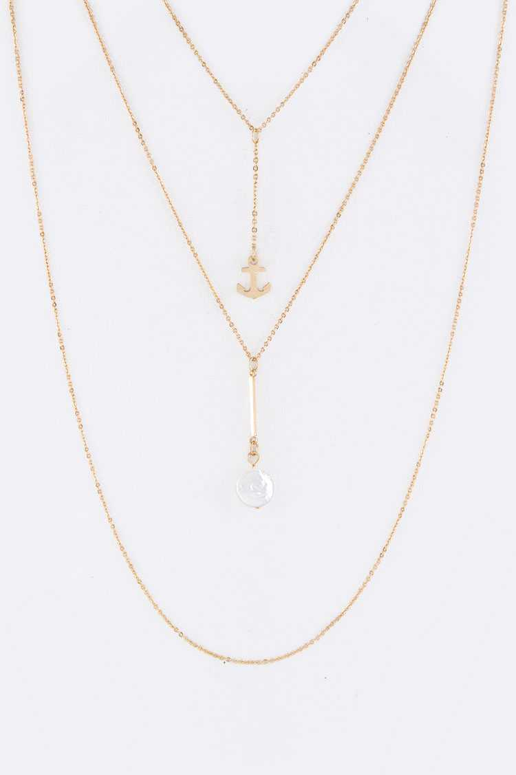 Anchor & Button Pearl Charms Layer Necklace Set